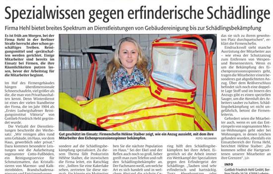 Rheinpfalz Anzeigensonderveroeffentlichung zu Schädlingsbekämpfung durch Firma Hehl